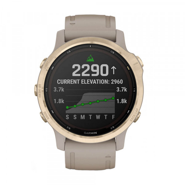 Часовник Garmin Fenix 6S Pro Solar Light Gold/Light Sand 010-02409-11