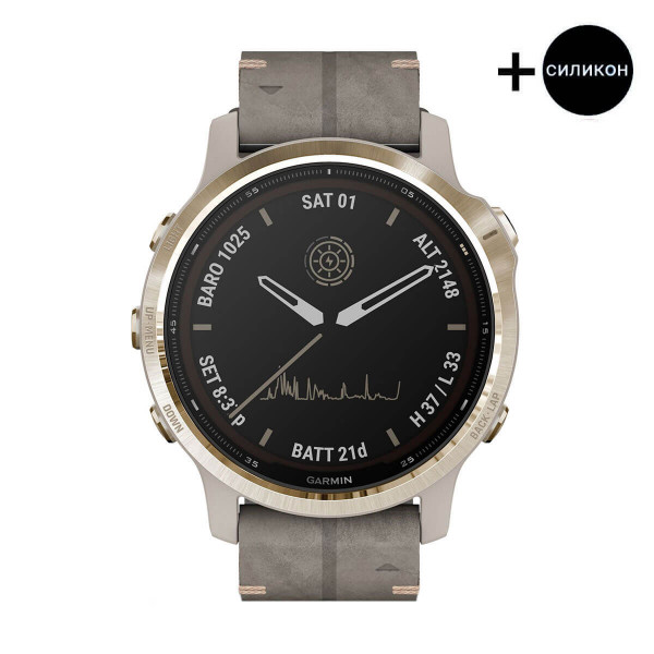 Часовник Garmin Fenix 6S Pro Solar Light Gold/Shale Suede 010-02409-26