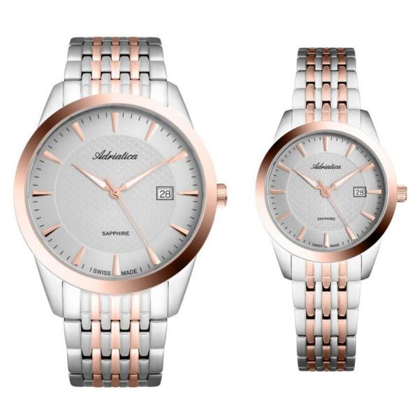 Комплект часовници за двойки Adriatica A1288.R117Q & A3188.R117Q