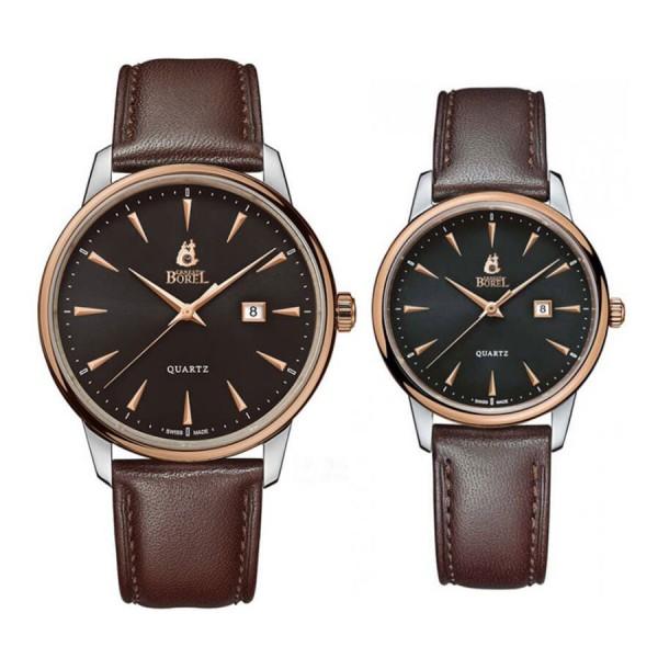 Комплект часовници за двойки Ernest Borel GBR5650H-03191BR & LBR5650H-03191BR